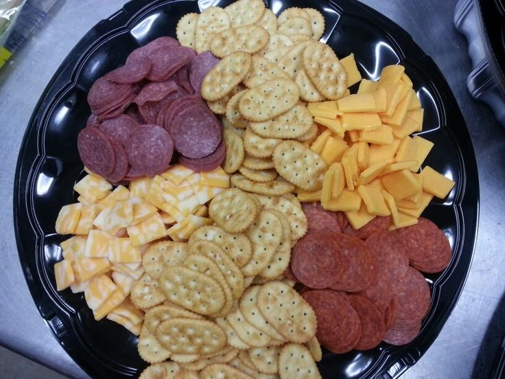 Sausage, Cheese and Crackers Tray - A nice snack or appetizer before the main course is served. I served this at a wedding while the photos were being taken.