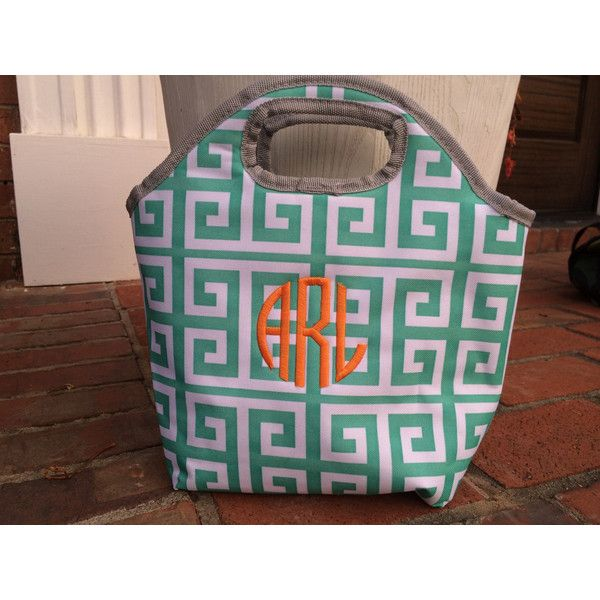 Monogrammed insulated lunch tote greek key personalized lunch box ($22) ❤ liked on Polyvore featuring home, kitchen & dining, food storage containers, monogrammed lunch box, personalized lunch tote, lunch carrier, lunch tote and monogrammed lunch tote