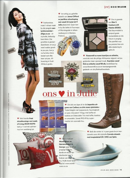 """Diligo.co.za features in """"ons ♥ in Julie"""" Thanks Rooi Rose (2011)"""