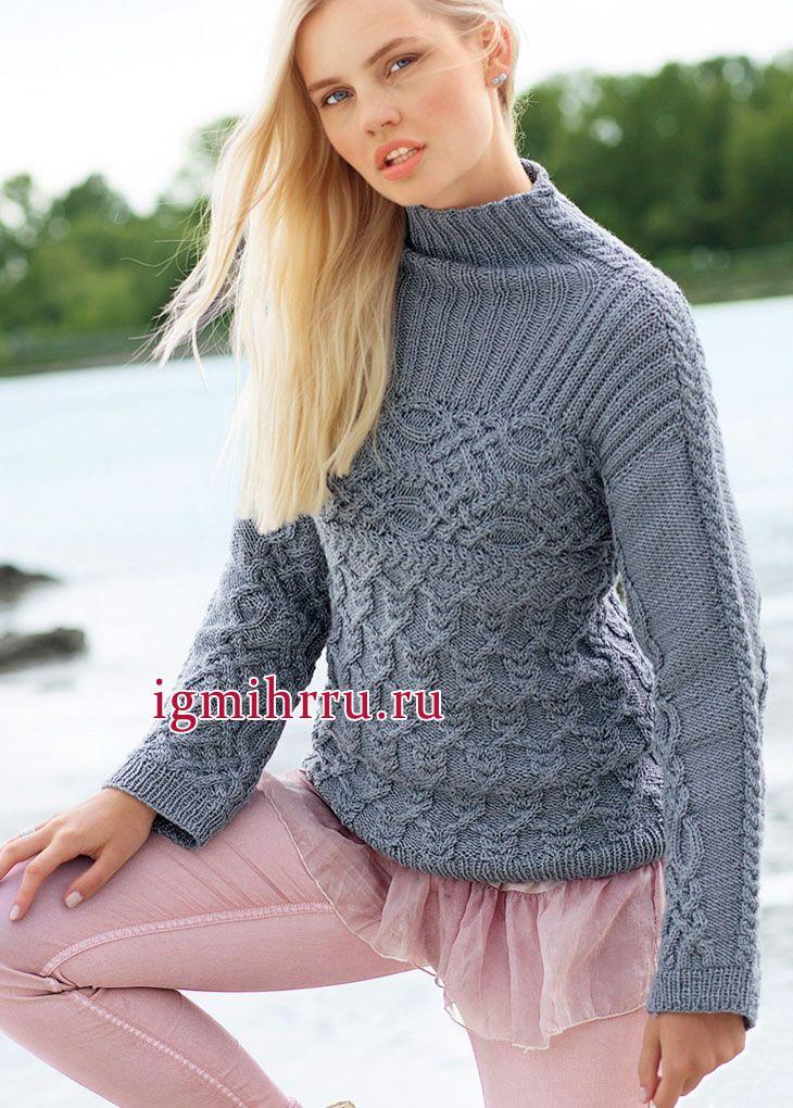 Микс выразительных узоров из кос. Серо-голубой теплый пуловер с кокеткой. Вязание спицами