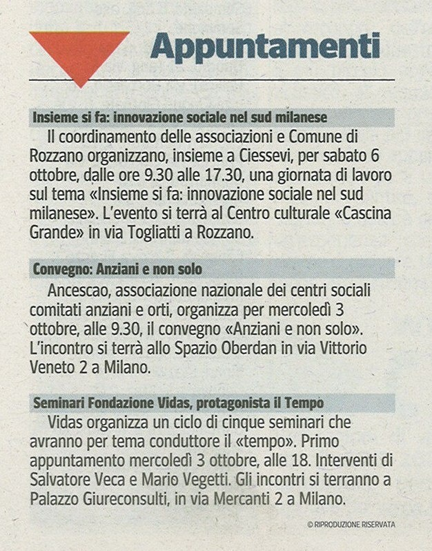 """Corriere della sera - 30 settembre -Seminari """"Il Tempo"""""""