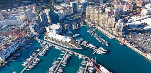 """Sunborn Gibraltar is a Yacht floating hotel in the town of Gibraltar. Ocean village marina and with the iconic """"Rock of Gibraltar""""."""