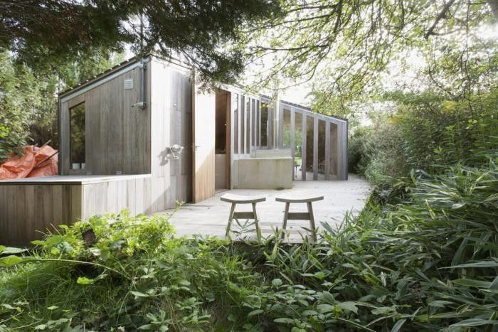 """Yet another contribution to the """"Only in Europe"""" file: an architect-designed family cabin sited in the middle of a public park. The Poplar Garden House is"""