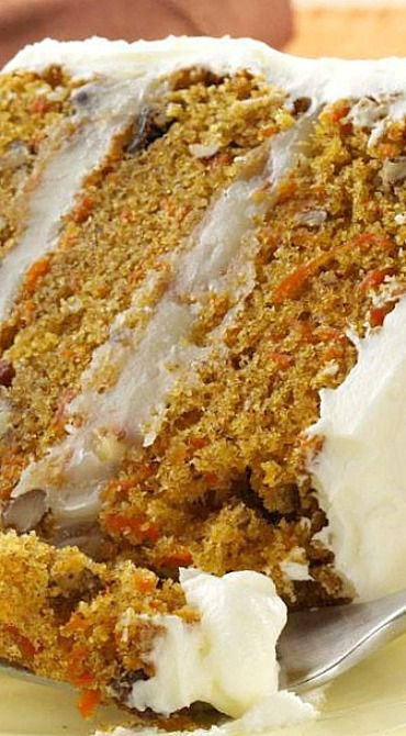 Carrot Layer Cake Recipe ~ A moist not-too-sweet cake