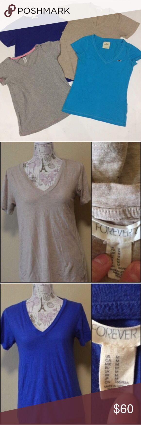 """🎉🎉Bundle of 4 V-Neck Tees Mixed Brands.    B3 Blue Hollister Length: 25"""""""" shoulder to hem Bust: 36"""" Defects: None Condition: Excellent   Gray Joe Boxer Length: 24"""""""" shoulder to hem Bust: 36"""" Defects: None Condition: Excellent   Tan & Royal Blue F21 Length: 25"""""""" shoulder to hem Bust: 36"""" Defects: None Condition: Excellent   Model Lucy Shoulders 30"""" Bust 35"""" Waist 28"""" Hips 35.5""""  Smoke free home with cats and dogs. Priced for the lot of 4 Forever 21 Tops Tees - Short Sleeve"""
