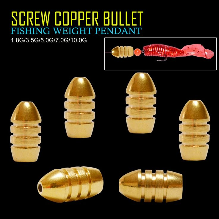 Afishlure threaded copper bullet pendant 1.8g/3.5g/5g/7g/10g pure copper fishing weights soft lure accessaries Fishing Tackle