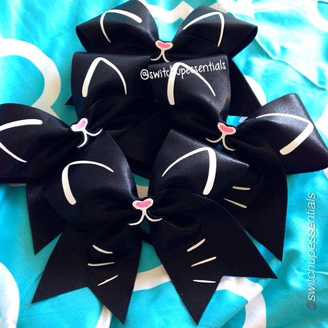 """109 Likes, 5 Comments - Hip Girl Boutique LLC (@hipgirlclips) on Instagram: """"Cheer bow of the day. by @switchupessentials """"Happy Cat bows""""  Tag #cheerbowoftheday to be…"""""""