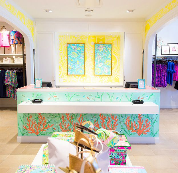 Room inspiration a bright yellow print accent wall in a for Lilly s craft kitchen