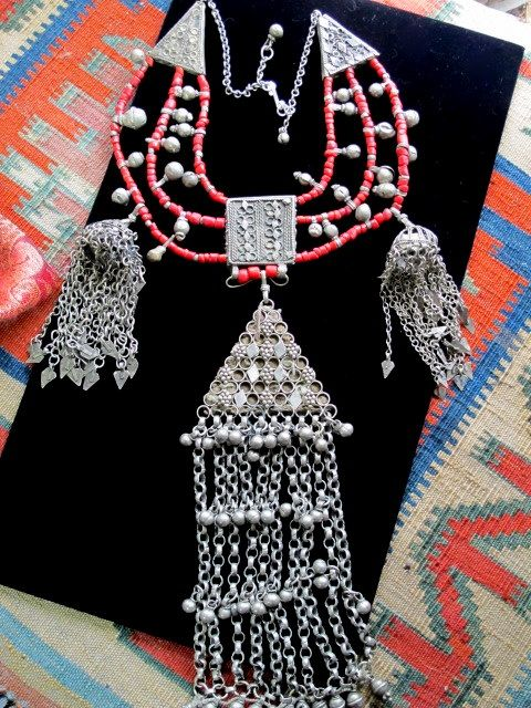Old Yemeni Necklace Handcrafted with Pendants and Coral Beads