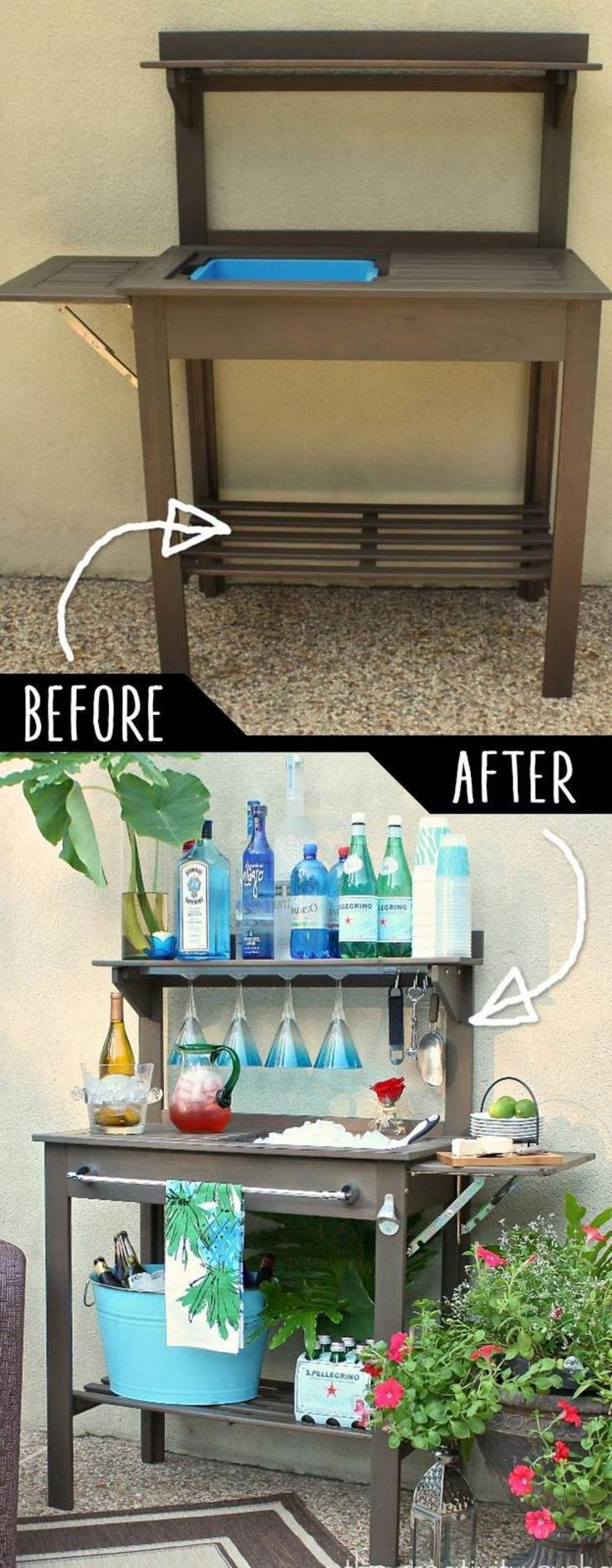 5.  Turn A Potting Bench Into A Cool Beverage Bar!