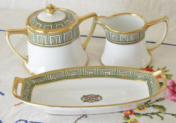 Hand painted Nippon sugar bowl, creamer and candy dish