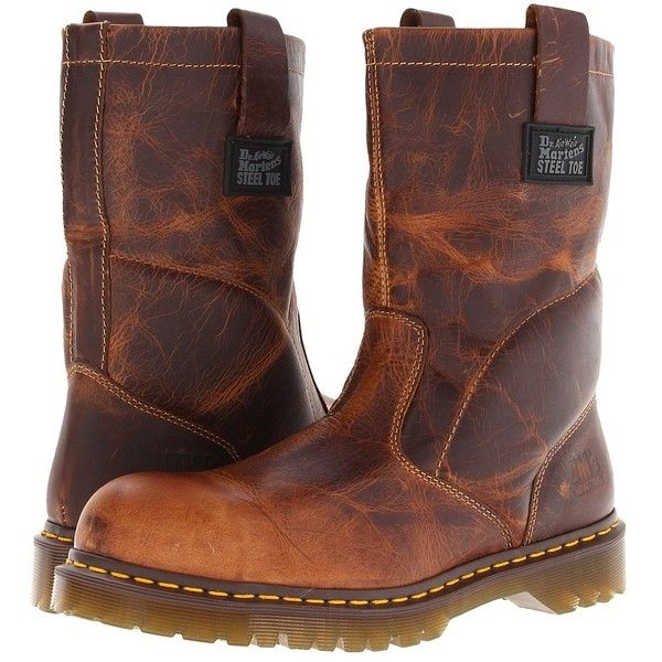 Dr. Martens Work 2295 Rigger (Tan Greenland) Work Pull-on Boots ($130) ❤ liked on Polyvore featuring shoes, boots, mid-calf boots, tan greenland, wide boots, dr martens boots, safety toe boots, pull on steel toe boots and pull on boots
