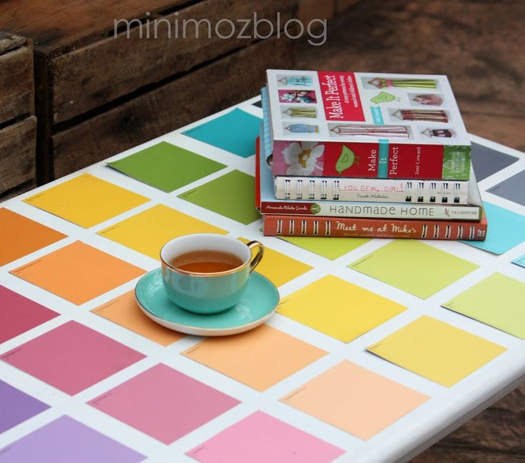 Brighten up a tired old table with paint chips.  Source: Minimoz Blog