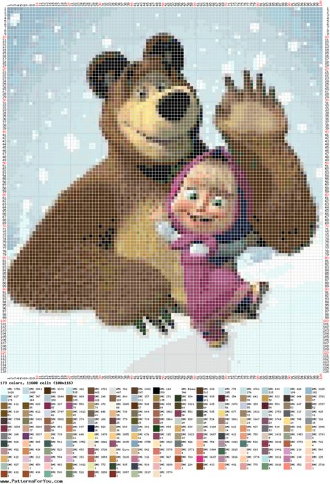 Masha and the bear cross stitch