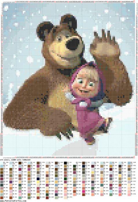 schema punto croce masha e orso 1   Hobby lavori femminili - ricamo - uncinetto - maglia