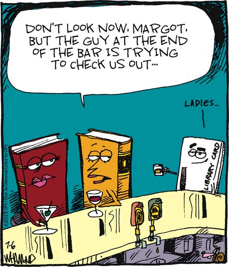 The library card is trying to check out the books.