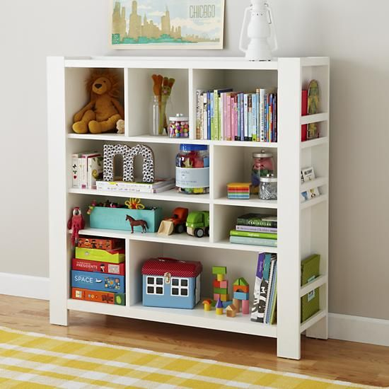 Love the side book storage: The Land of Nod | Kids' Bookcase: Kids White Compartment Cubby Bookcase in All Storage