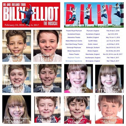 """BILLY ELLIOT THE MUSICAL """"Billy Elliot the Musical"""" begins it's first ever United Kingdom and Ireland tour on February 24, 2016 through May 6, 2017.  The tour begins this Wednesday at the Theatre Royal Plymouth in Plymouth, England. Five weeks of performances are scheduled in Plymouth.  To date 10 cities are scheduled over the next 15 months.  Four boys will debut as the 124th, 125th, 126th, and 127th """"Billy Elliot's"""" in the World.  The demanding role of """"Billy Elliot"""" will be shared by 12…"""