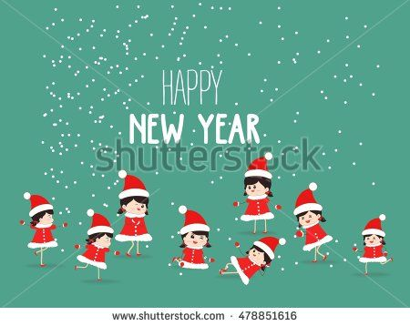 Merry Christmas and happy New Year Card with kids Background