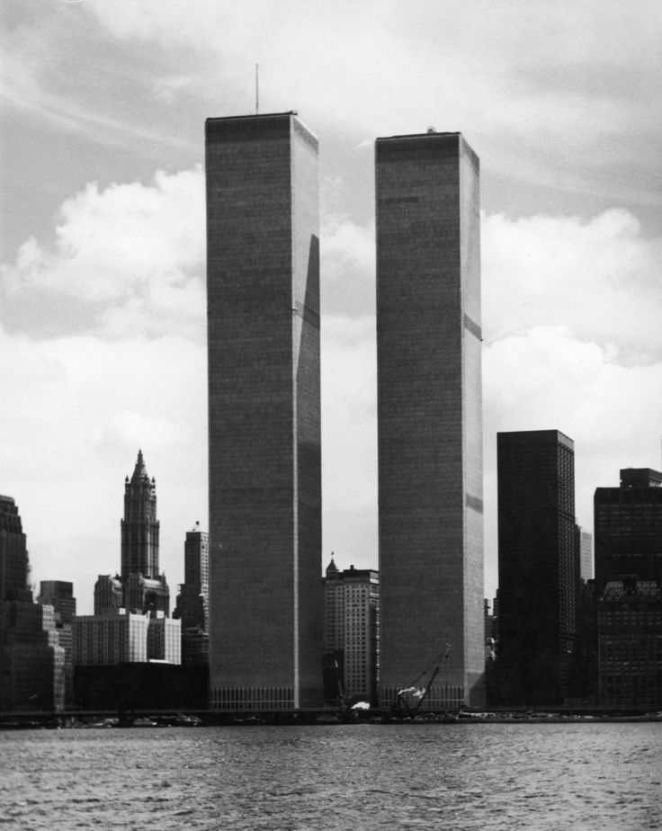 The twin towers of the World Trade Center in New York, designed by American…