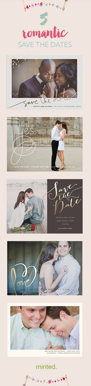 Romantic wedding save the dates from minted.com