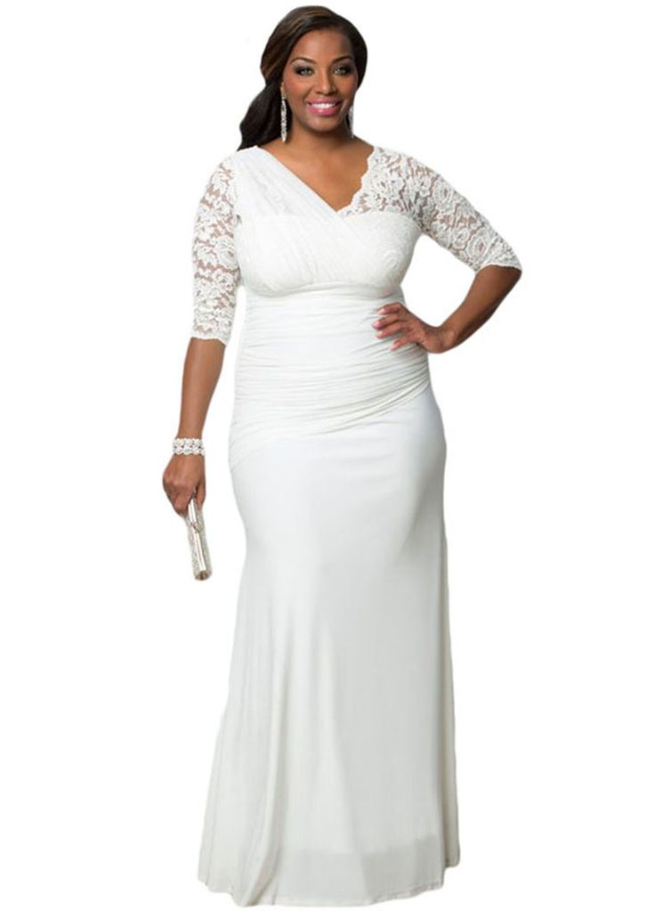 Full-figured Plus Size Women Elegant Half Sleeves Wedding ...