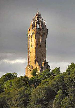 The Wallace Monument, near Stirling Castle, commemorates the actions of William Wallace during the Wars of Independence