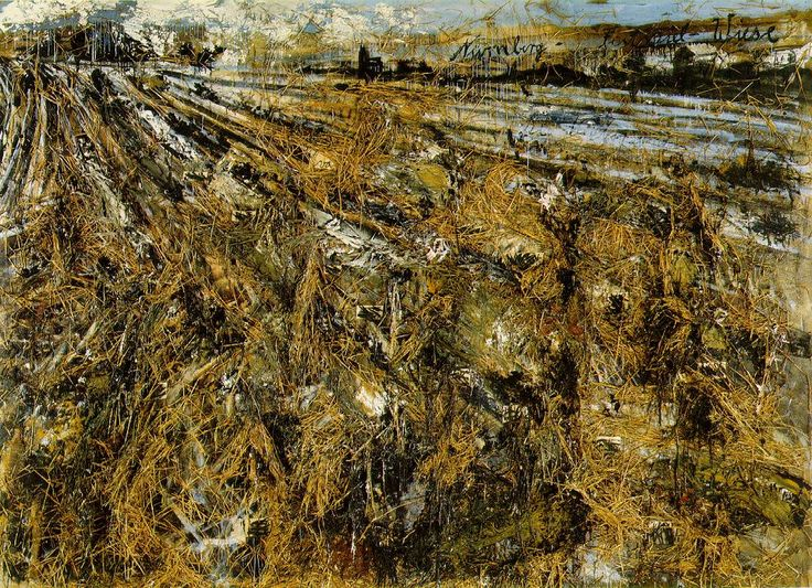 Anselm Kiefer used material found at the place he was painting to add to his work.