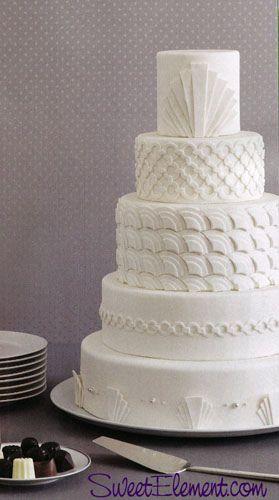 White on White Art Deco Wedding Cake By Sweet Element cakes