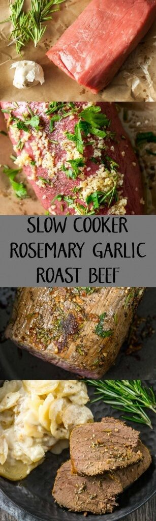 Slow Cooker Rosemary Garlic Roast Beef | Your Christmas Dinner dilemma is solved! Simple, juicy and flavorful roast beef that slow cooks all day while you relax!