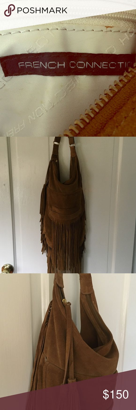 French Connection Tan Suede Fringe Purse Suede fringe over the shoulder purse. I have only wore this purse once for an event so it's basically brand new. French Connection Bags Shoulder Bags