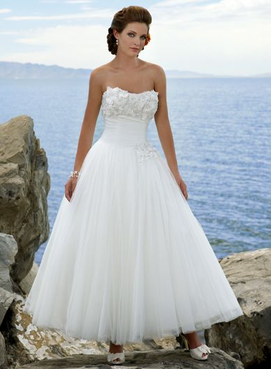 Ball Gown Strapless  Charming Net with Ruffle wedding dress