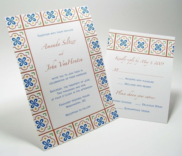 Talavera Mexican Tile Pressed Wedding Invitation And Rsvp Sample From Digby And Rose Featuring Letterpress Light