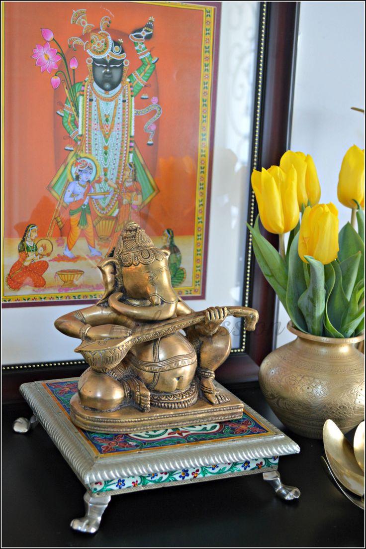 Ganesha brass artifacts Holi dcor tulips Indian