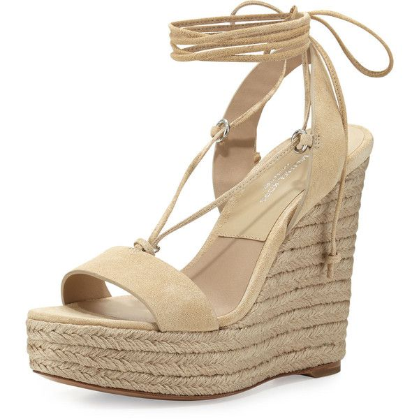 Michael Kors Collection Clive Suede Lace-Up Wedge Espadrille Sandal ($325) ❤ liked on Polyvore featuring shoes, sandals, ecru, open toe wedge sandals, suede lace up sandals, platform wedge sandals, strappy sandals and strap sandals