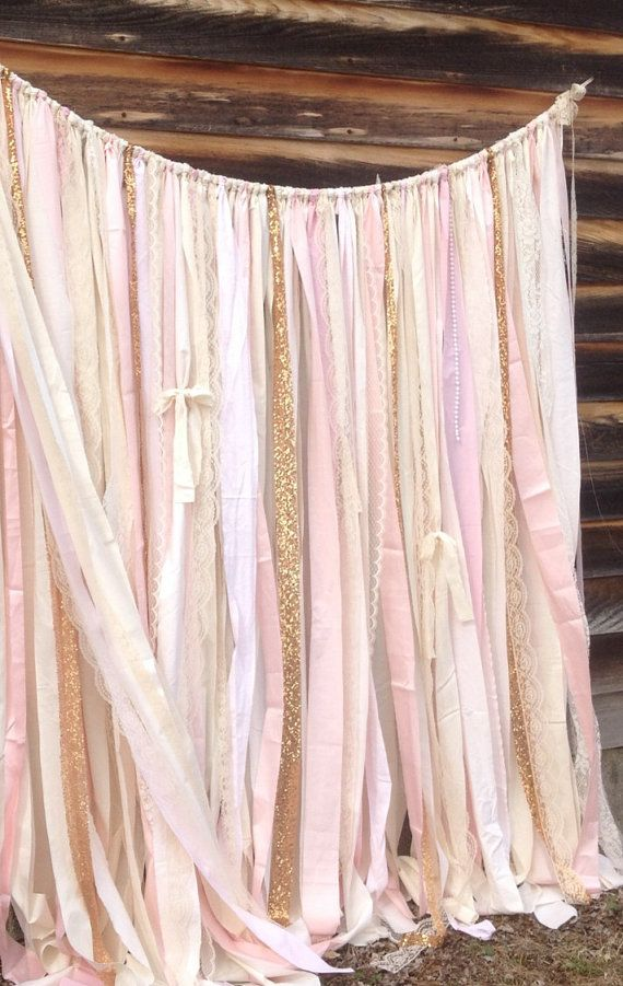 Champagne and Pink, Blush Ribbon Backdrop with Sparkly Sequins Fabric Ribbons with satin mixed with layers of lace and sheer chiffon Assorted