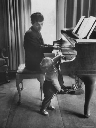 Russian Pianist Vladimir Ashkenazy and Son at Piano at Their Elegant Country Home Premium Photographic Print by Ralph Crane at Art.com
