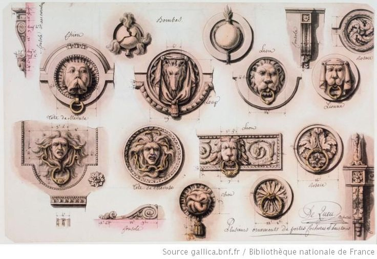 Plusieurs ornements de portes cochères et heurtoirs : [dessin] / Le Queu Architect Auteur : Lequeu, Jean Jacques (1757-1825?). Dessinateur Date d'édition : 1777-1824