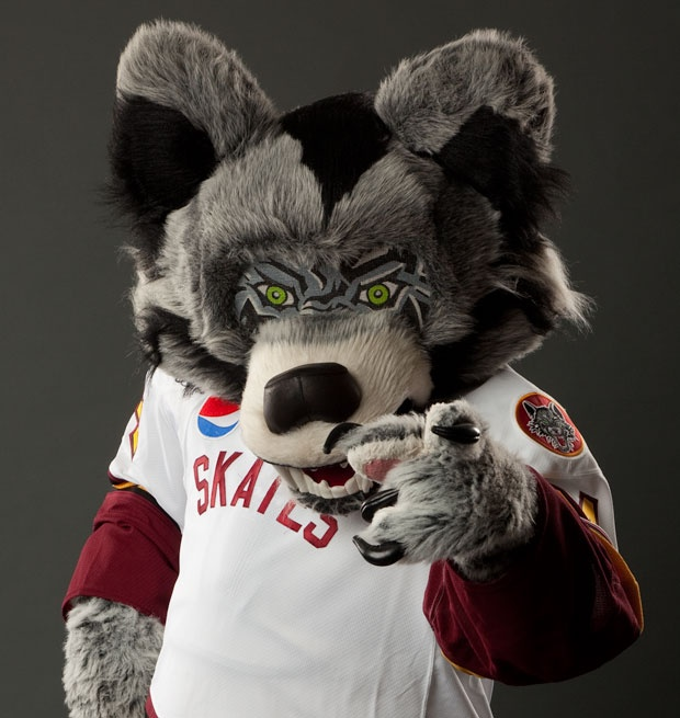 Skates, the mascot for the Chicago Wolves