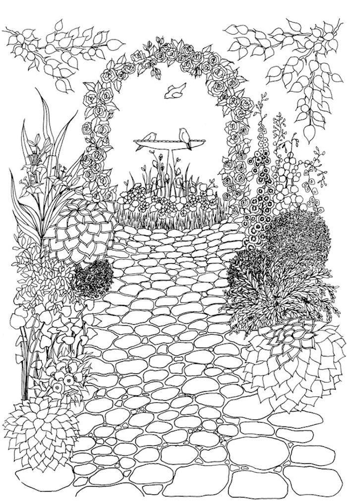 dover publications creative haven whimsical gardens coloring book - My Secret Garden Coloring Book