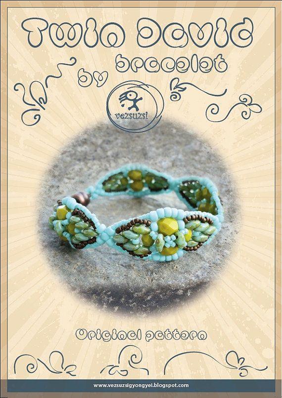 Tutoriel bracelet / pattern David Twin avec perles jumelles...Instruction PDF uniquement à des fins personnelles