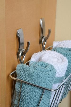 Keeping Your Kitchen Or Bathroom Organized And Functional Is Easy   Use  Command™ Modern Reflections Metal Hooks To Hold Baskets For Towels And Dish  Cloths.