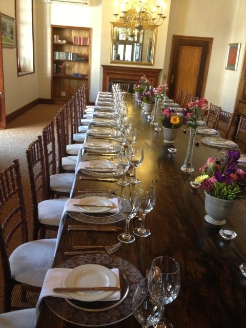 Dinner Cutlery Set On a Long Table at Lanzerac Wine Estates