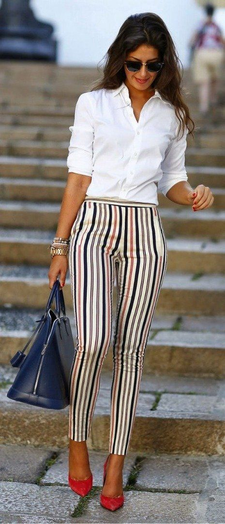 Stripes give a slimming illusion and look great with a plain blouse/shirt.