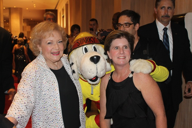 """Nice!  Betty White received the 2012 American Humane Association's """"Legacy Award"""" and posed with Sparky the Fire Dog and NFPA's Lorraine Carli. http://nfpa.typepad.com/fpw/"""
