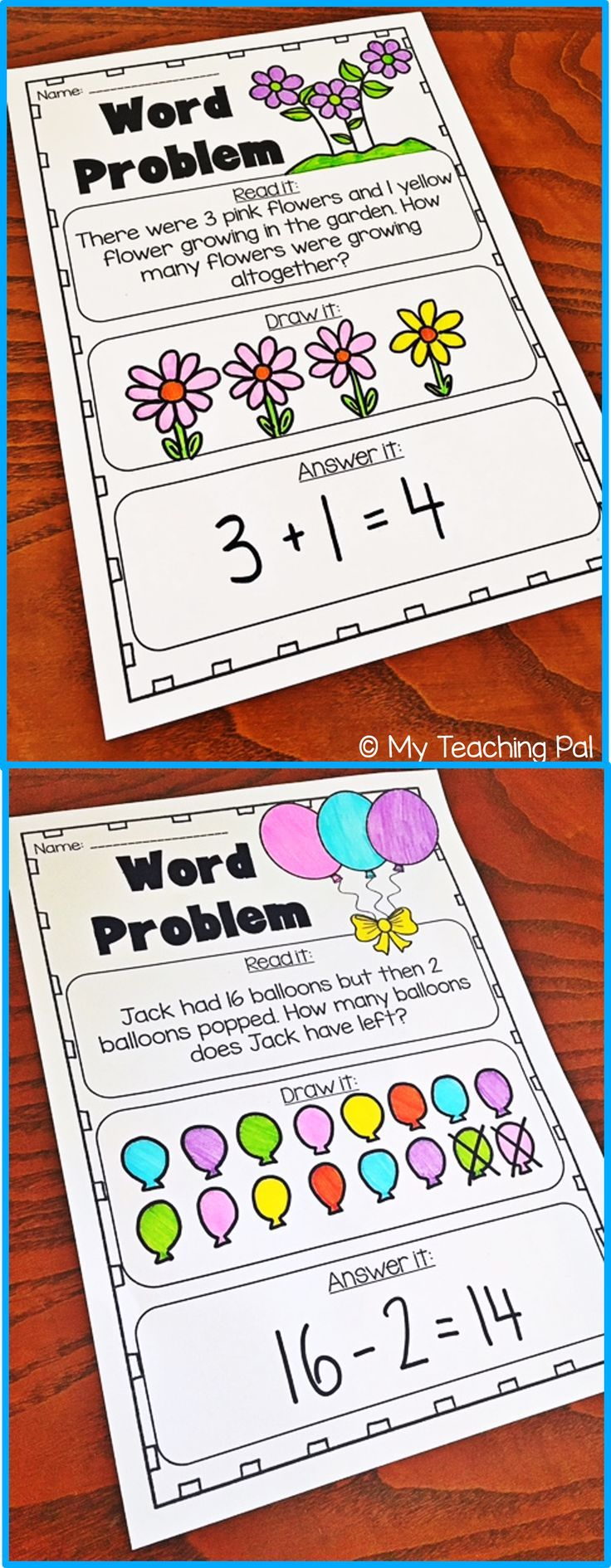 Addition and subtraction word problem printable worksheets for Kindergarten and First Grade.