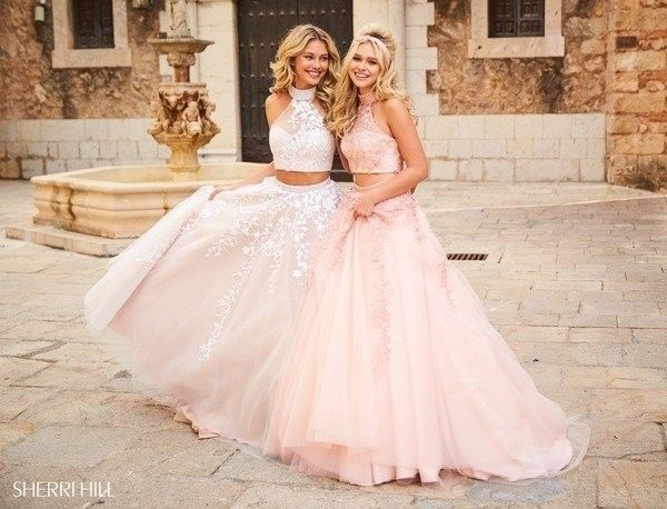 Beautiful long lace applique two piece prom dresses spring