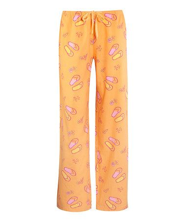 Take a look at this Tangerine Orange Flip-Flop Pajama Pants - Women by Life is good® on #zulily today!