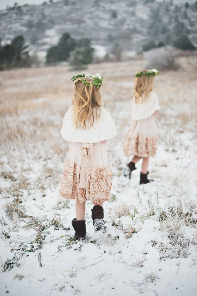 Adorable flower girls in floral crowns | Bellamint Photography | http://burnettsboards.com/2014/01/royalty-themed-wedding/