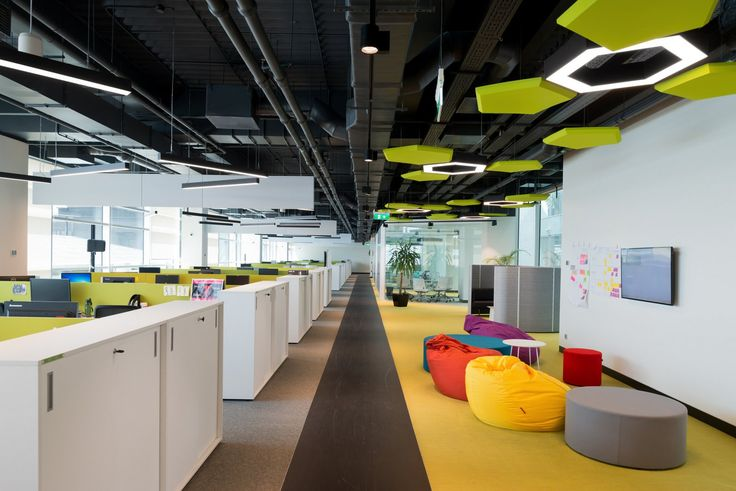 Adidas Offices – Moscow. ABD Architects. Open plan. Collaboration. Breakoutout. Exposed ceiling. Acoustic rafts.